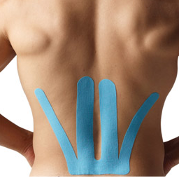 Patient with K-tape on back